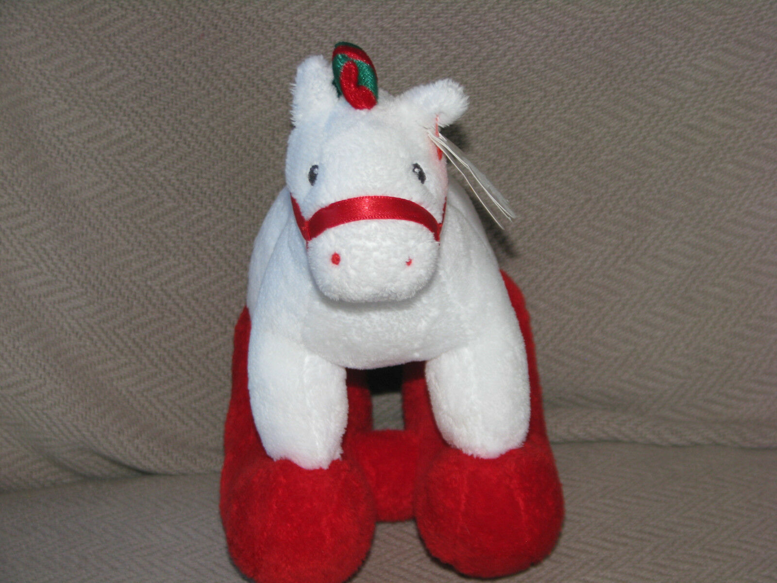Primary image for TY PRETTY PONY ROCKING HORSE STUFFED PLUSH WHITE RED GREEN XMAS 2006 NEW