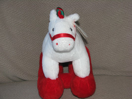 TY PRETTY PONY ROCKING HORSE STUFFED PLUSH WHITE RED GREEN XMAS 2006 NEW - $15.83