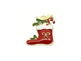 Crystal Stone Boot Stocking Pin and Brooch in Gold Tone - $11.95