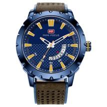 Mini Focus Men's Leather Quartz Wrist Watch MF0150G (Blue) - $30.60