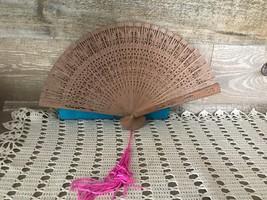 Asian Wooden Hand Fan Vintage with Original Box Vintage Carved Wood Fan - $25.81