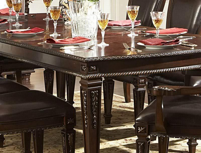 Patrician 7pcs old world rectangular dining room table chairs set furniture dining sets - Patician room ...