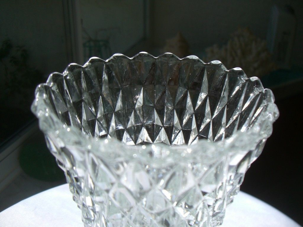 "Indiana Glass Diamond Point Clear 8"" Flower Vase  c1960's"