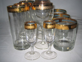 Vintage Gold Trim & Turquoise Glass Blue Inside Rocks Wine High ball Sho... - $43.99