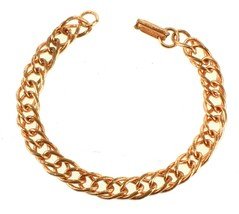 VINTAGE 1950'S SOLID COPPER DOUBLE LINK TWIST LINK CHAIN CHARM BRACELET ... - $53.99