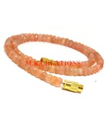 """Natural Peach Moonstone 3-4mm Rondelle Faceted Beads 16"""" Long Beaded Nec... - $17.29"""