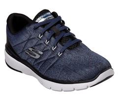 Skechers Blu Nero Scarpe Uomo Memory Mesh Sport Confortevole Casual Sneaker - $49.22
