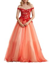 Women's Off Shoulder Long Prom Dress 2018 Lace Applique Beaded Tulle Par... - $112.89