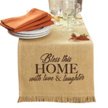 "54"" Table Runner Thanksgiving Farmhouse Bless This Home Burlap Decoratio... - $43.99"
