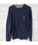 Tommy Hilfiger Sweater Mens Large L Navy Big Lion Crest Heavy Knit Crew ... - $35.32