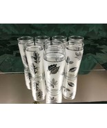 Set of 8 Vintage Mid Century Libbys Juice Cordial Glasses Frosted Silver... - $17.99