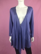 Comfy USA Cardigan M Purple Cocoon Drape Open Front One Button Pocket 3/... - $39.59