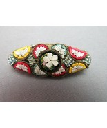Micro Mosaic Brooch Made Italy Flower Tiny Tiles Red Fancy Raised Back C... - $36.13