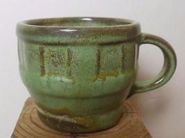 "Vintage Small Cup Mug  Frankoma Prairie Green 2.5""  Mid Century Wagon Wheel - $14.00"