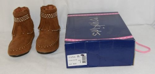 I Love Yo Kids AVA 78K Girls Fringe Boot Rust Silver Studded Size 3