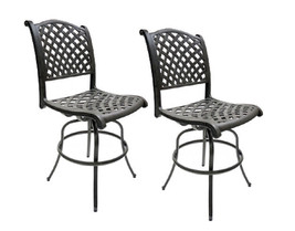 Patio Bar Stools Set of 2 Swivel Outdoor Furniture Cast Aluminum Sunbrella Seats image 2