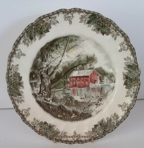 """JOHNSON BROS FRIENDLY VILLAGE """"THE OLD MILL"""" 10-1/2"""" PLATE: BROWN MARK - $14.80"""