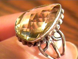 STERLING SILVER 925  Ring 7 lemon Citrine Natural PEAR cut solitaire - £33.04 GBP