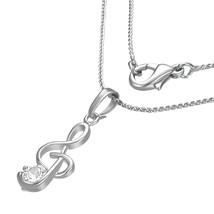 Fashion Treble Clef Necklace w/Clear CZ - $9.99