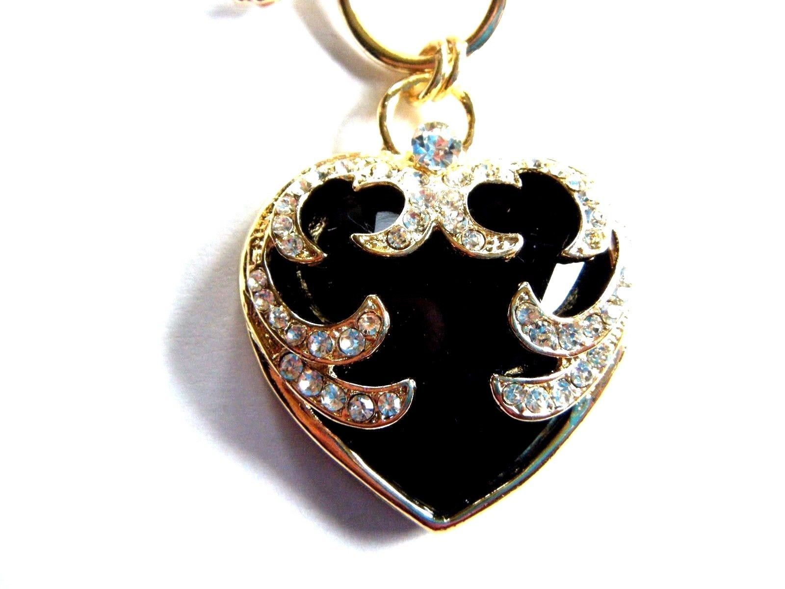 """Black Heart Pendant With Clear Stones On 18"""" Gold Tone Chain New with Tag"""
