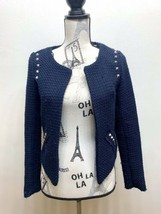 Dex Girl's Short Tweed Jacket Navy Blue Distressed Style Small - $27.12
