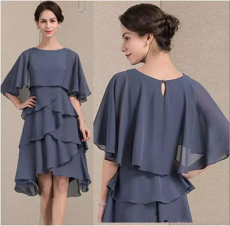 Gray Chiffon Knee Length Mother Of the Bride Dress Wide Sleeve Women Party Gowns