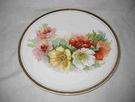 "Pretty Vintage 10 1/2"" DRESDEN CHINA Plate Flowers - $15.44"