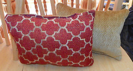 Pair of Gold Burnt Orange Abstract Decorative Throw Pillows  18 x 12 - $39.95