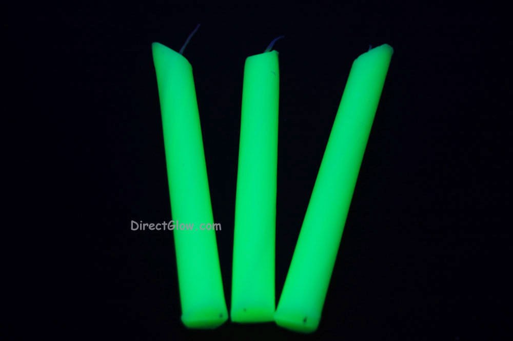 3 Pack YELLOW Blacklight Reactive Drip Candles