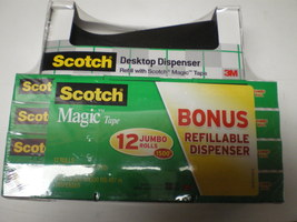 12 PAC OF SCOTCH MAGIC TAPE-JUMBO~~810~~3/4 X 1500 IN= 41.6 YDS~ W BLACK... - $31.95