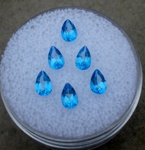 6 Loose Blue Topaz Pear Gems 5x3mm each  - $21.99