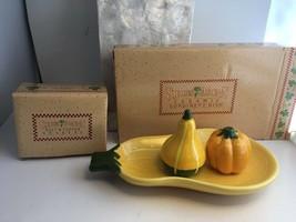Vtg Avon Shades Of Autumn Ceramic Condiment Dish Salt Pepper Shakers New - $24.18