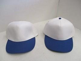 1 PAIR WHITE CAPS/HATS-BLUE BILLS/EYELETS/BUTTON-5 PANEL-BUCKLE+WHITE LE... - $5.90