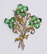 "Vintage 3.75"" Floral Goldtone Brooch Pin with Large Green Rhinestone - $21.27 CAD"