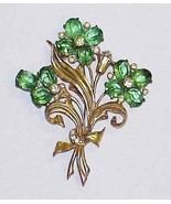 "Vintage 3.75"" Floral Goldtone Brooch Pin with Large Green Rhinestone - $16.00"