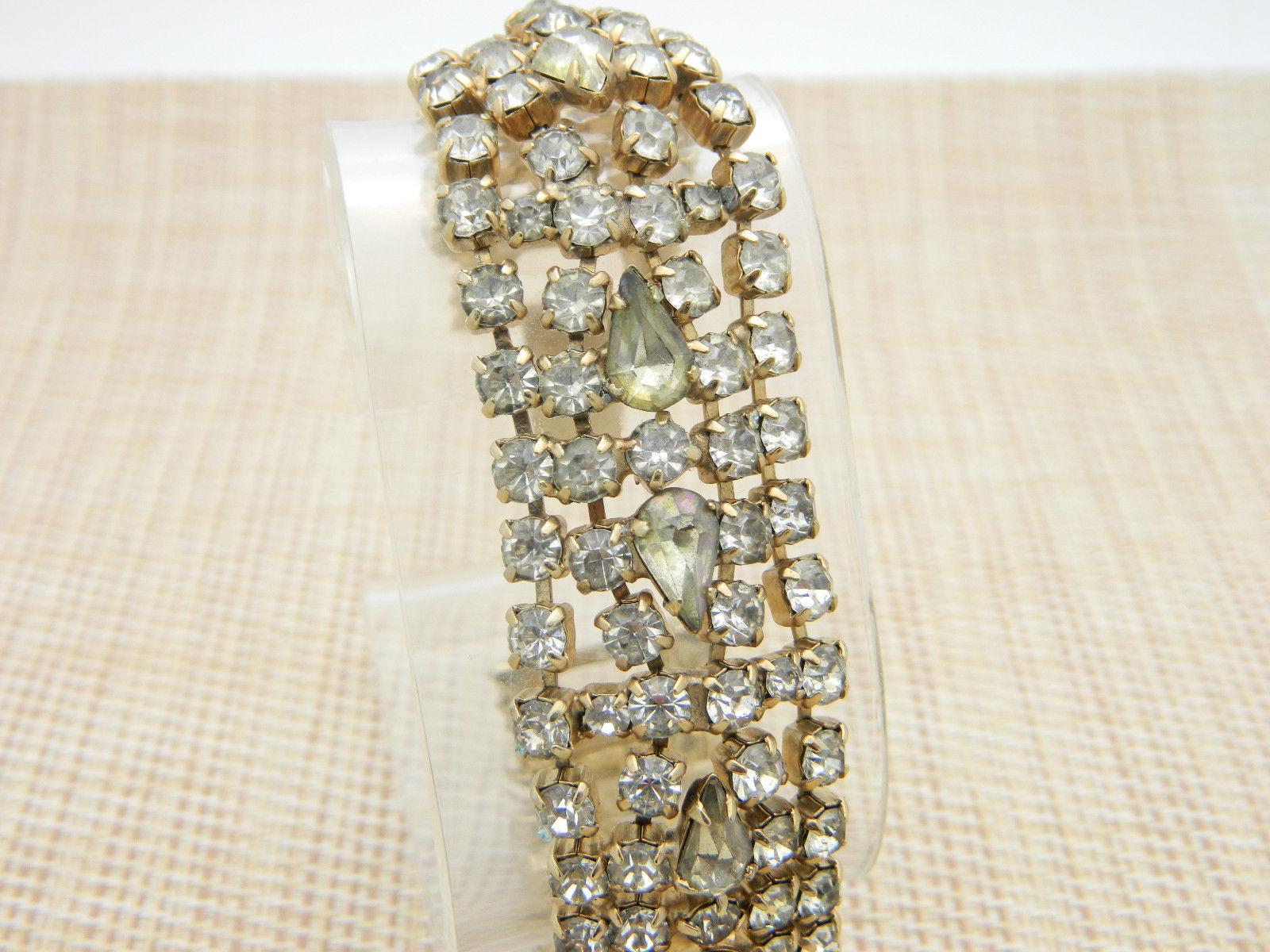 Clear Grey Gray Teardrop Rhinestone Wide Chunky Silver Tone Bracelet Vintage