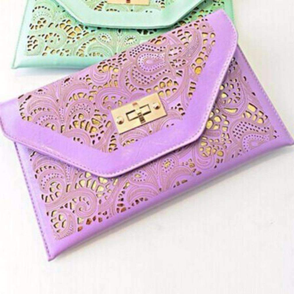 Daisy dress for less bag purple beautiful cut out envelope shoulder clutch bag 1424138895391