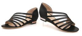 93S013 sweet heel flat sandals lady shoes, size 4-8.5, black - $42.80
