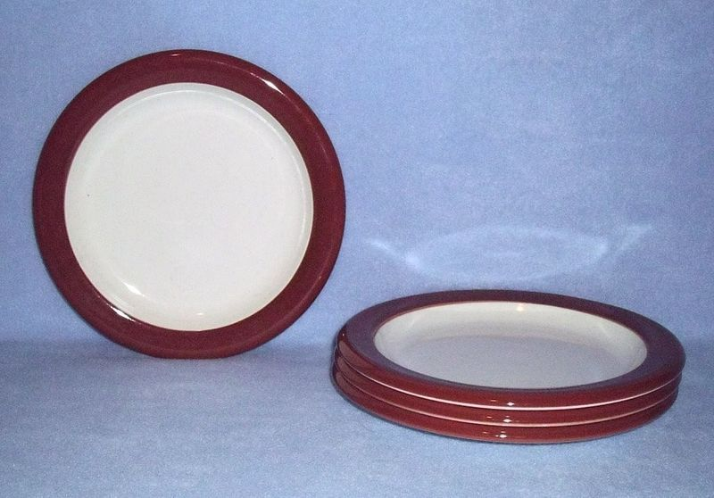 Primary image for Mikasa Terracotta Band C2851 4 Salad Plates Color Compliments