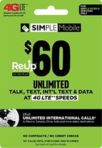 Simple Mobile $60 Truly Unlimited Plan Service Card - $69.49