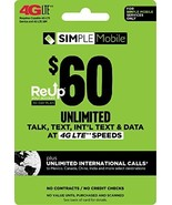 Simple Mobile $60 Truly Unlimited Plan Service Card - $69.47