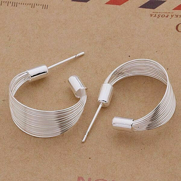 Primary image for Multi Strand Loop Earrings 925 Sterling Silver NEW