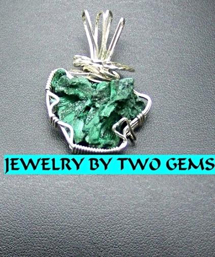 Jewelry By Two Gems (Wp26) Sterling Silver Wire Wrap Pendant /w Malachite Fan