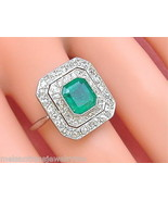 ANTIQUE ART DECO .80ctw DIAMOND 1.5ct EMERALD PLATINUM COCKTAIL RING 1930 size 8 - £2,757.48 GBP