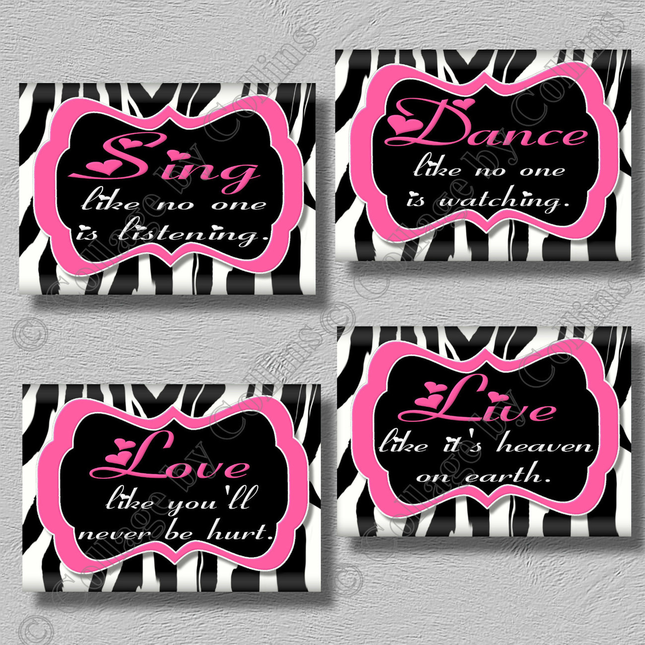 HOT PINK Zebra Print DANCE LIVE LOVE SING Quote Art Girls