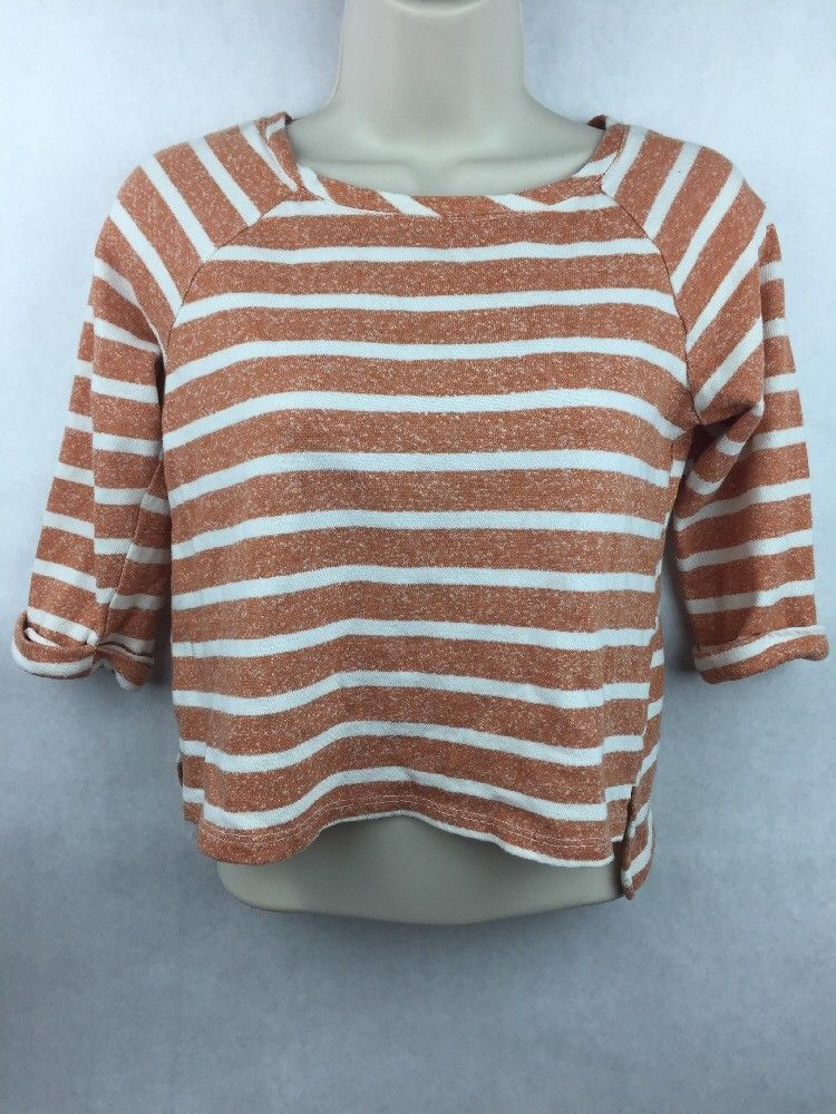 Primary image for Girl's Pockie K Orange & White  3/4 Sleeve Striped Shirt Size XL