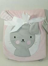 "Lambs & Ivy pink gray bunny rabbit white circle baby blanket New 30x40"" - $44.54"