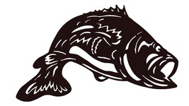 Largemouth Bass Scroll Saw Silhouette pattern by OTB Patterns - $2.75