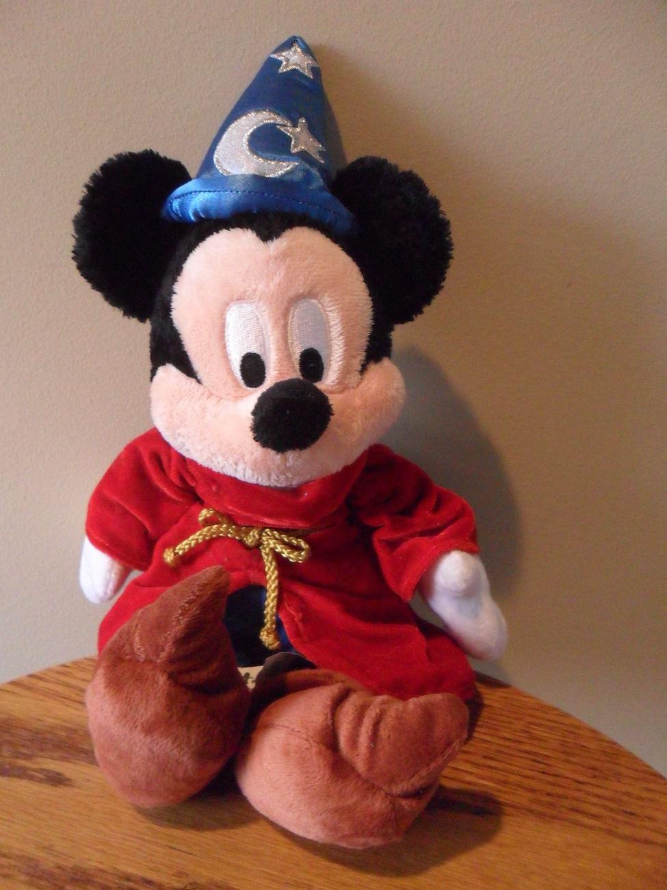 "Stuffed Bean Bag Mickey Mouse Walt Disney World 12"" Plush Wizard Red Cape"