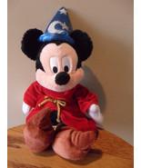 "Stuffed Bean Bag Mickey Mouse Walt Disney World 12"" Plush Wizard Red Cape - $12.69"